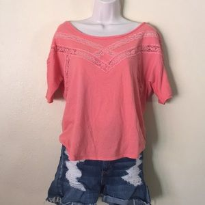 Free People SP salmon peach jersey/lace T-shirt